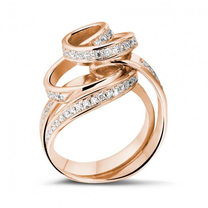 0.85 karaat diamanten design ring in rood goud