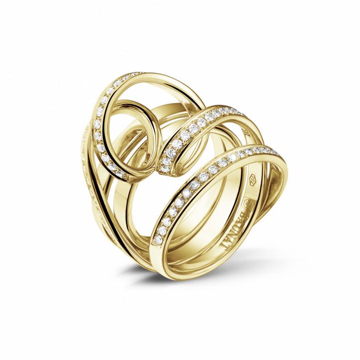 0.77 karaat diamanten design ring in geel goud