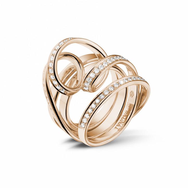 0.77 karaat diamanten design ring in rood goud
