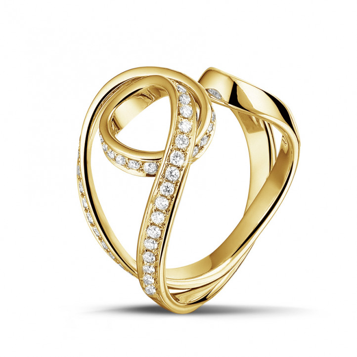 0.55 karaat diamanten design ring in geel goud