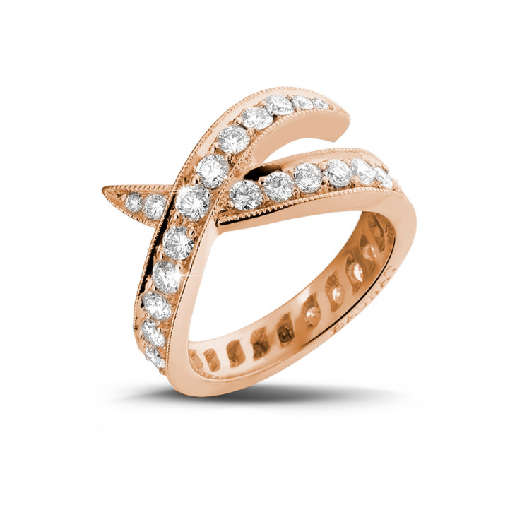 1.40 karaat diamanten design ring in rood goud