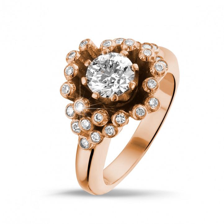 0.90 karaat diamanten design ring in rood goud