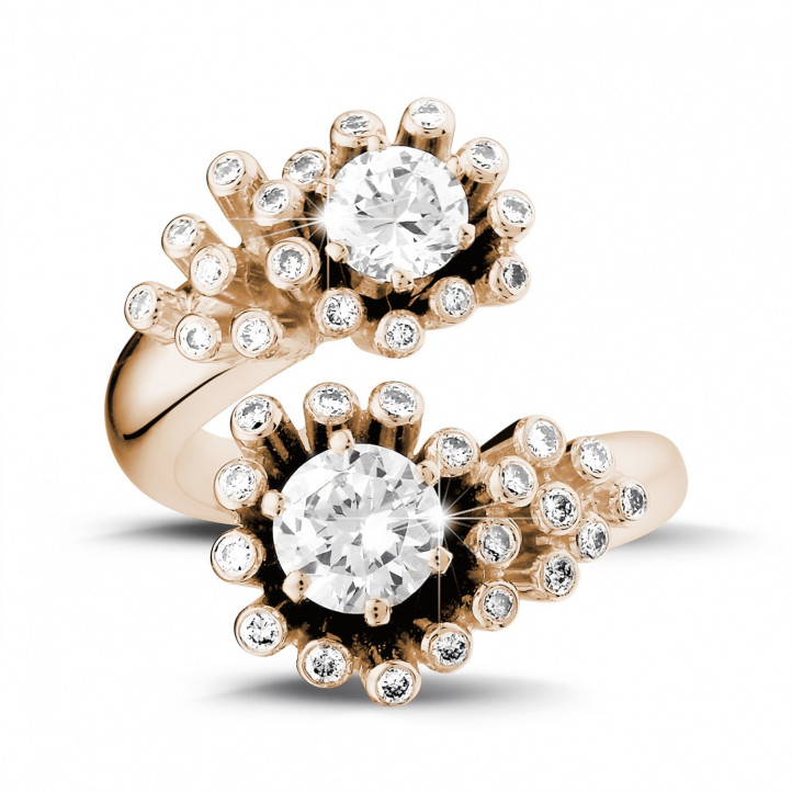 1.40 karaat diamanten Toi et Moi design ring in rood goud