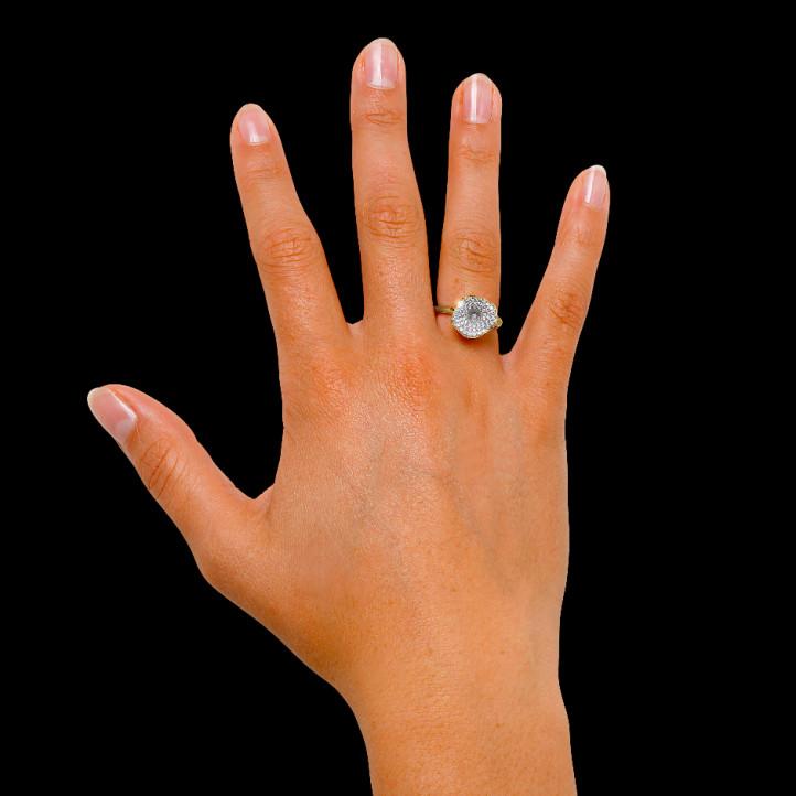 0.54 caraat diamanten design ring in geel goud
