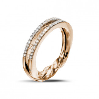 Roodgouden diamanten trouwringen en alliances - 0.26 karaat diamanten design ring in rood goud
