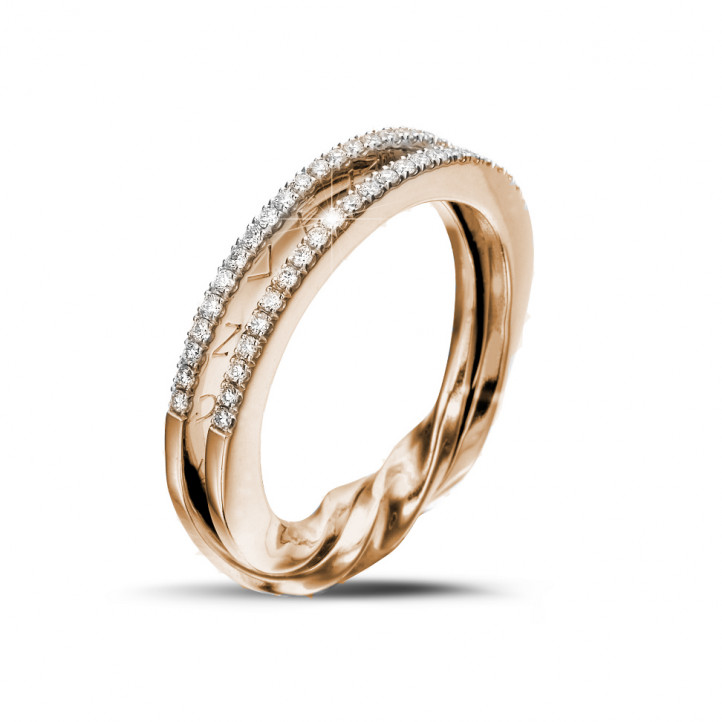 0.26 karaat diamanten design ring in rood goud