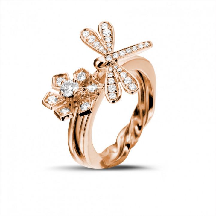 0.55 karaat diamanten bloem & libelle design ring in rood goud