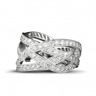Witgouden diamanten trouwringen en alliances - 2.50 karaat diamanten design ring in wit goud