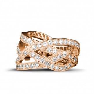 Roodgouden diamanten trouwringen en alliances - 2.50 karaat diamanten design ring in rood goud
