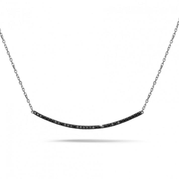 0.30 karaat fijne halsketting in wit goud met zwarte diamanten