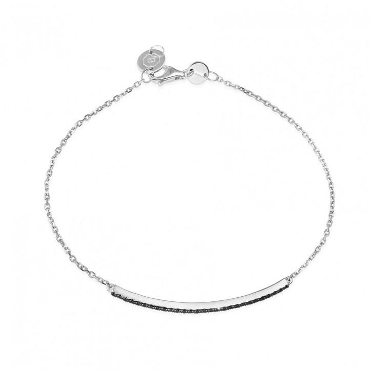 0.25 karaat fijne armband in wit goud met zwarte diamanten
