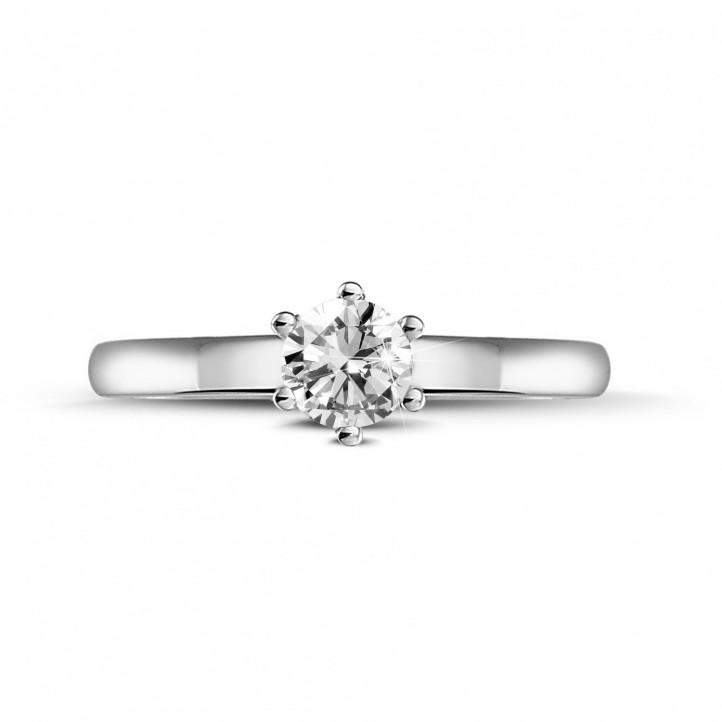 0.30 karaat diamanten solitaire ring in platina met zes griffen
