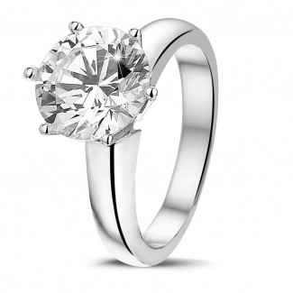 3.00 caraat diamanten solitaire ring in platina met zes griffen
