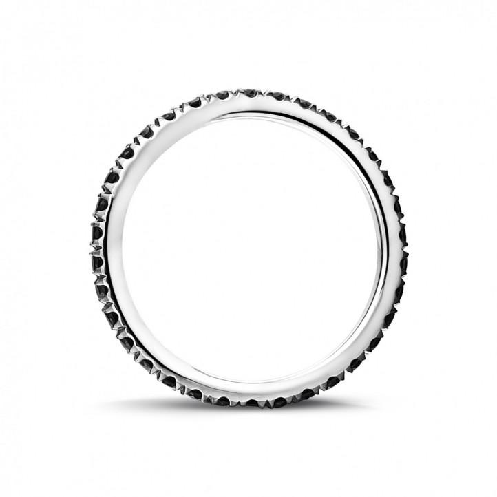 0.55 karaat alliance (volledig rondom gezet) in wit goud met zwarte diamanten