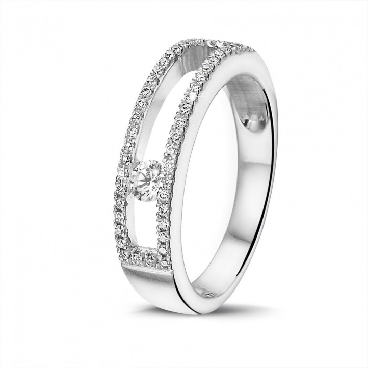 0.25 karaat ring in wit goud met zwevende ronde diamant