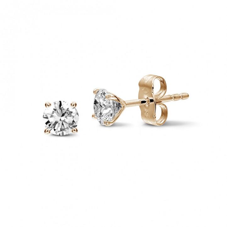 1.50 karaat klassieke diamanten oorbellen in rood goud met vier griffen
