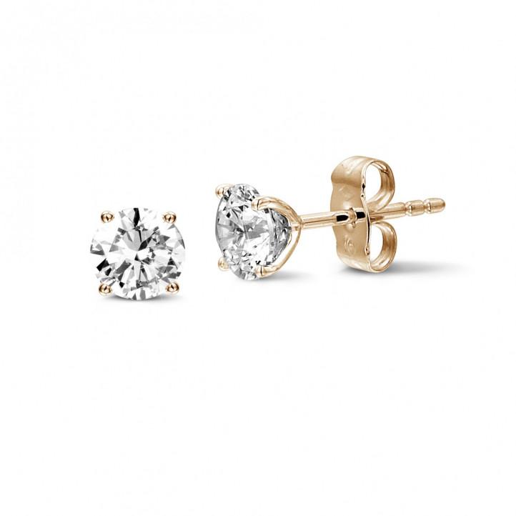 2.00 karaat klassieke diamanten oorbellen in rood goud met vier griffen