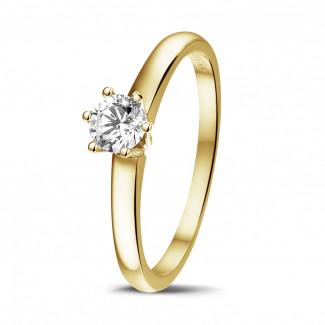 0.30 caraat diamanten solitaire ring in geel goud met zes griffen
