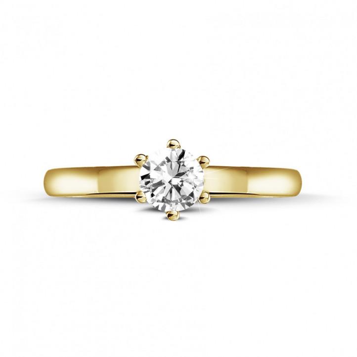 0.30 karaat diamanten solitaire ring in geel goud met zes griffen