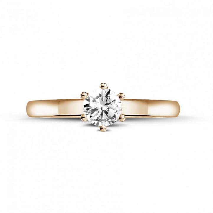 0.30 karaat diamanten solitaire ring in rood goud met zes griffen