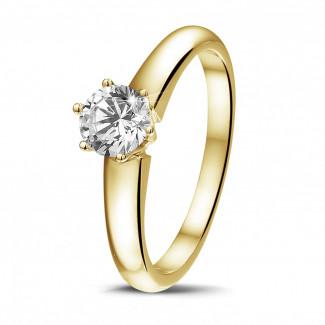 0.50 caraat diamanten solitaire ring in geel goud met zes griffen