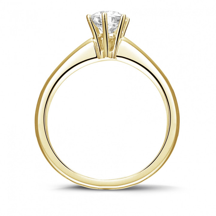 0.50 karaat diamanten solitaire ring in geel goud met zes griffen
