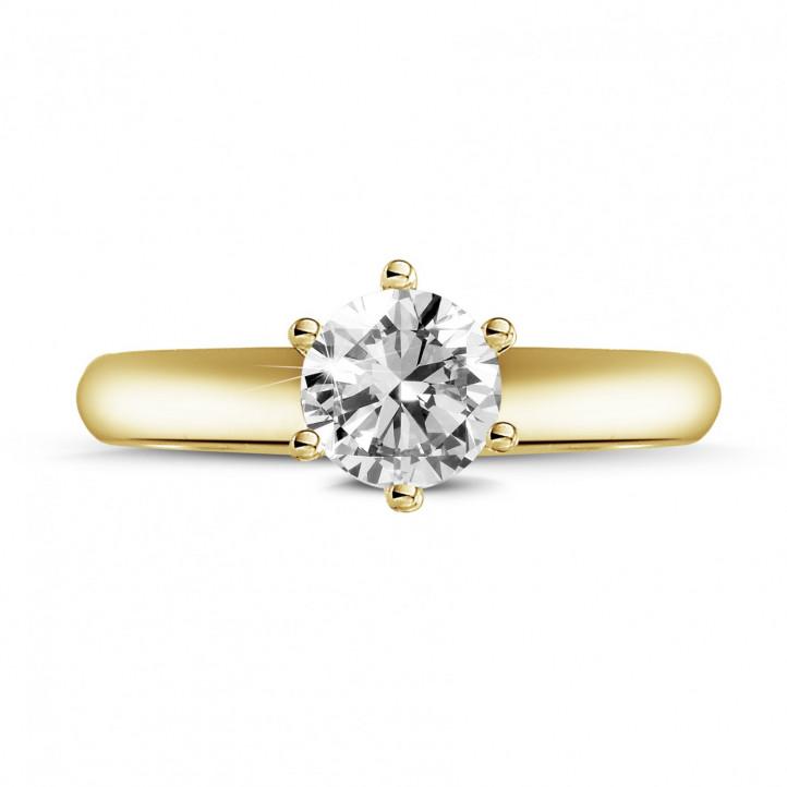 0.70 karaat diamanten solitaire ring in geel goud met zes griffen