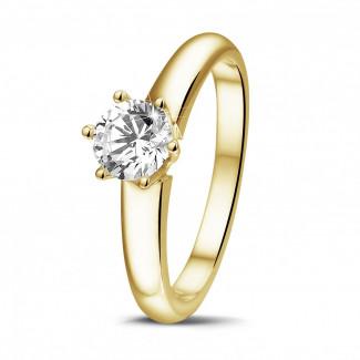 0.70 caraat diamanten solitaire ring in geel goud met zes griffen