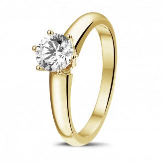0.75 caraat diamanten solitaire ring in geel goud met zes griffen