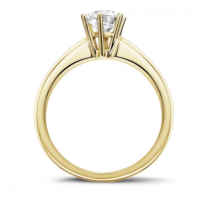 0.75 karaat diamanten solitaire ring in geel goud met zes griffen