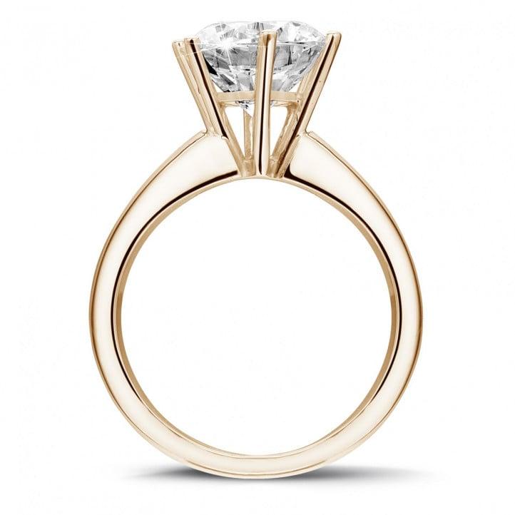Extreem 3.00 karaat diamanten solitaire ring in rood goud met zes griffen &NR55