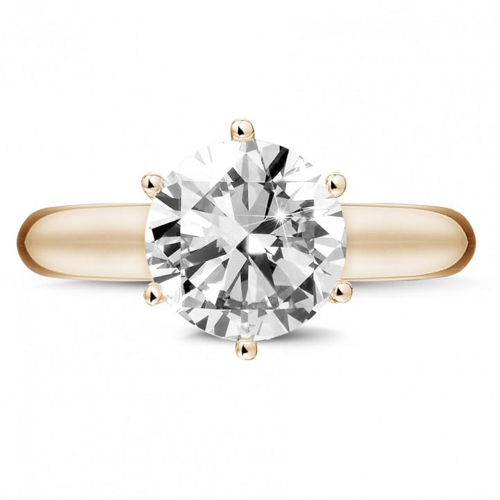 3.00 karaat diamanten solitaire ring in rood goud met zes griffen