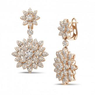 Classics - 3.65 caraat diamanten bloemenoorbellen in rood goud
