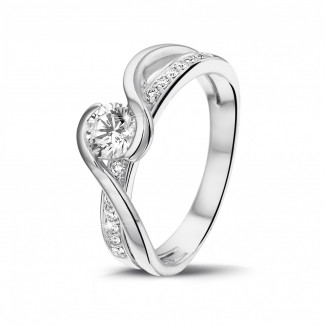 Platina Diamanten Ringen - 0.50 karaat diamanten solitaire ring in platina
