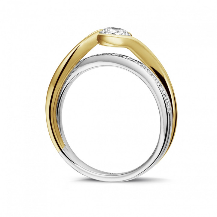 0.50 karaat diamanten solitaire ring in wit en geel goud