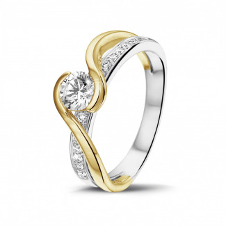 0.50 caraat diamanten solitaire ring in wit en geel goud