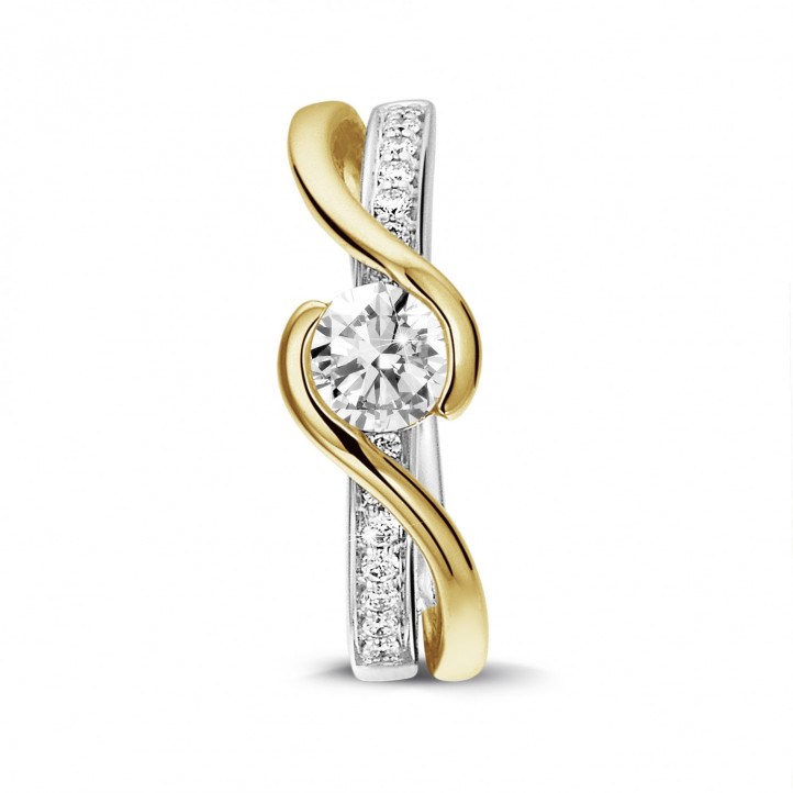 0.50 karaat diamanten solitaire ring in wit en geel goud