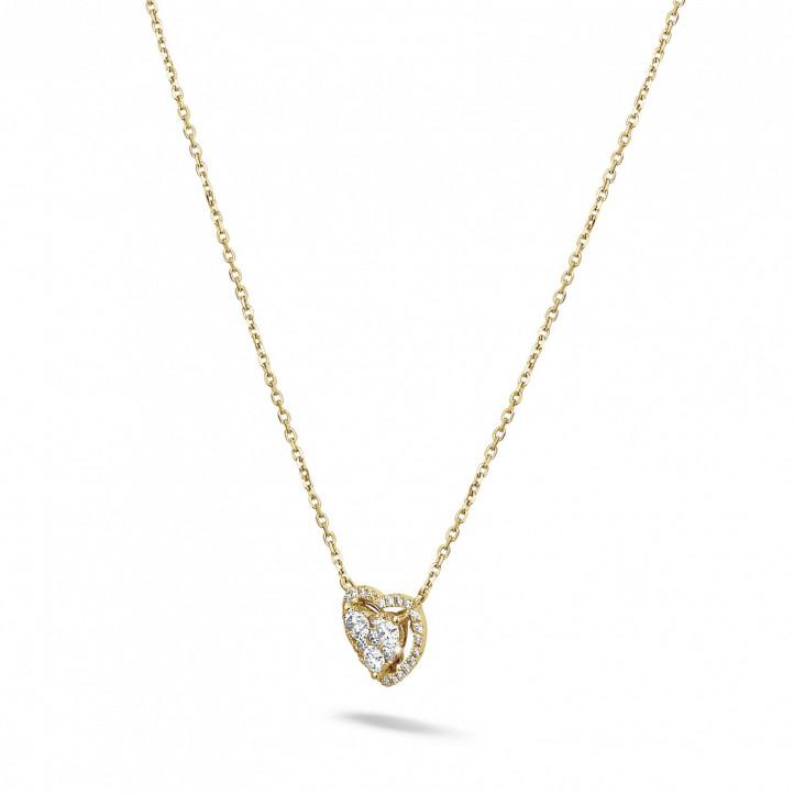 0.65 karaat hartvormige halsketting in geel goud met ronde diamanten