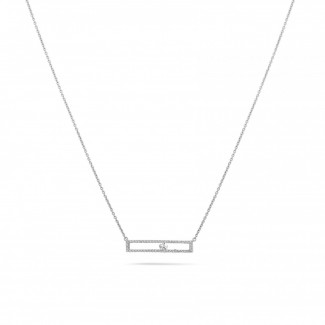 Halskettingen - 0.30 karaat halsketting in wit goud met zwevende ronde diamant