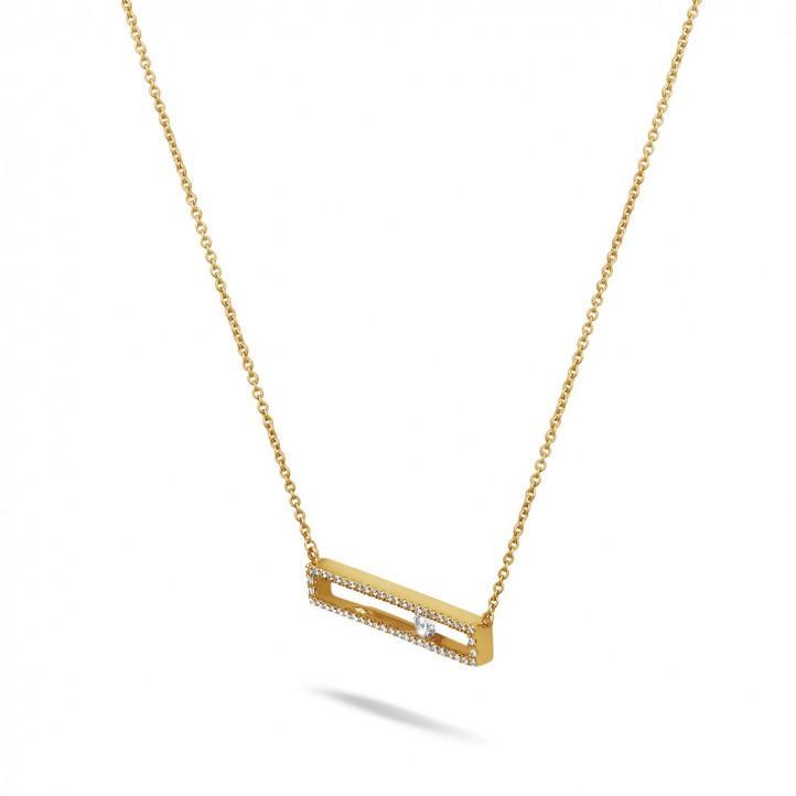 0.30 karaat halsketting in geel goud met zwevende ronde diamant