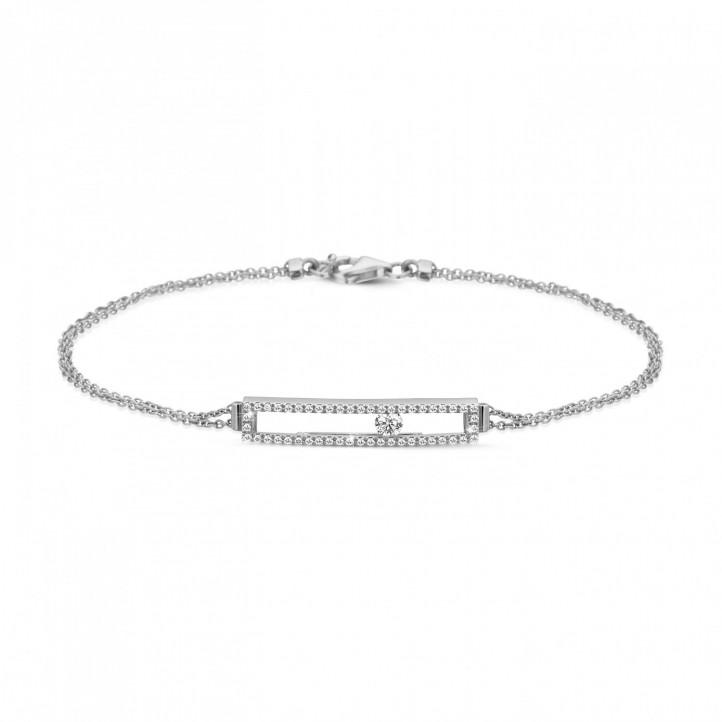 0.30 karaat armband in wit goud met zwevende ronde diamant