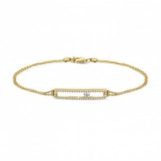 - 0.30 karaat armband in geel goud met zwevende ronde diamant