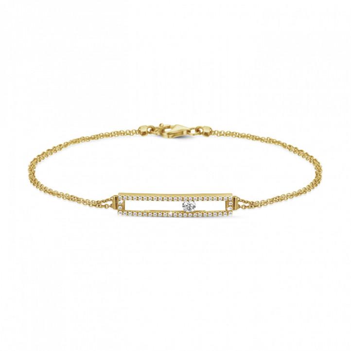 0.30 karaat armband in geel goud met zwevende ronde diamant