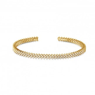 - 0.80 karaat diamanten slavenarmband in geel goud