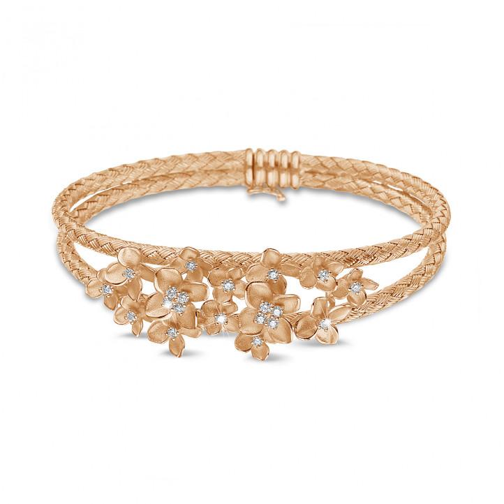 0.55 karaat diamanten design bloemen slavenarmband in rood goud