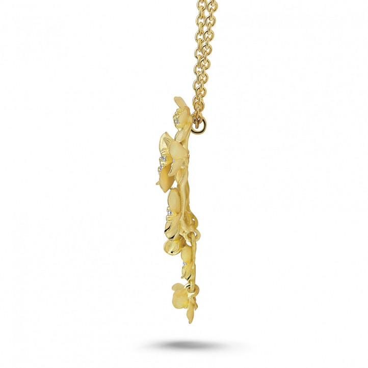 0.35 karaat diamanten design bloemenhanger in geel goud