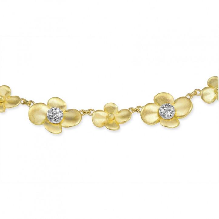 0.45 karaat diamanten design bloemenhalsketting in geel goud