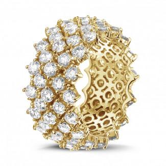 Diamanten ring in geel goud met visgraat design