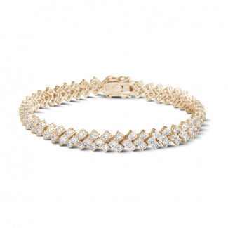 Roodgouden Diamanten Armbanden - 9.50 karaat diamanten armband in rood goud met visgraat design