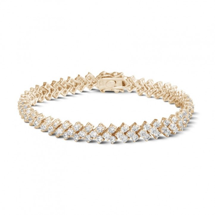 9.50 karaat diamanten armband in rood goud met visgraat design